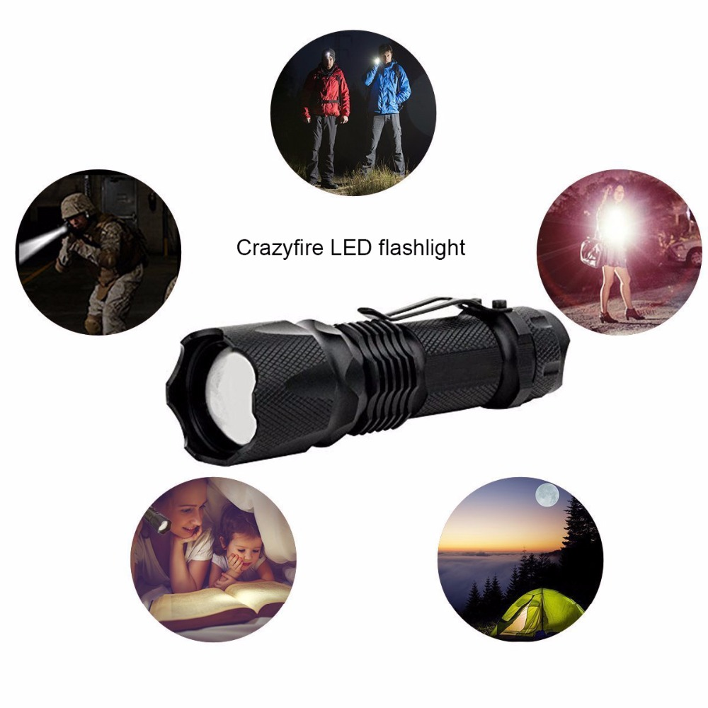 Crazyfire J5 Mini LED Flashlight Tactical Torch T6  Amazingly Bright 300 Lumen LED 3 Mode Tactical Flashlight ZOOM Black