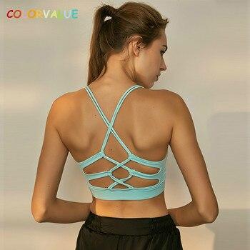 Colorvalue Seksi Çapraz Spor Yoga Sutyen Üst Kadınlar Çıkarılabilir Pedleri Egzersiz koşu sutyeni Katı Orta Destek Dans Spor Sutyen