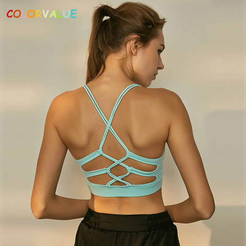 Colorvalue Sexy Crisscross Fitness Yoga Bra Top Women Removable Pads Workout Running Bra Solid Mid Support Dance Sport Brassiere