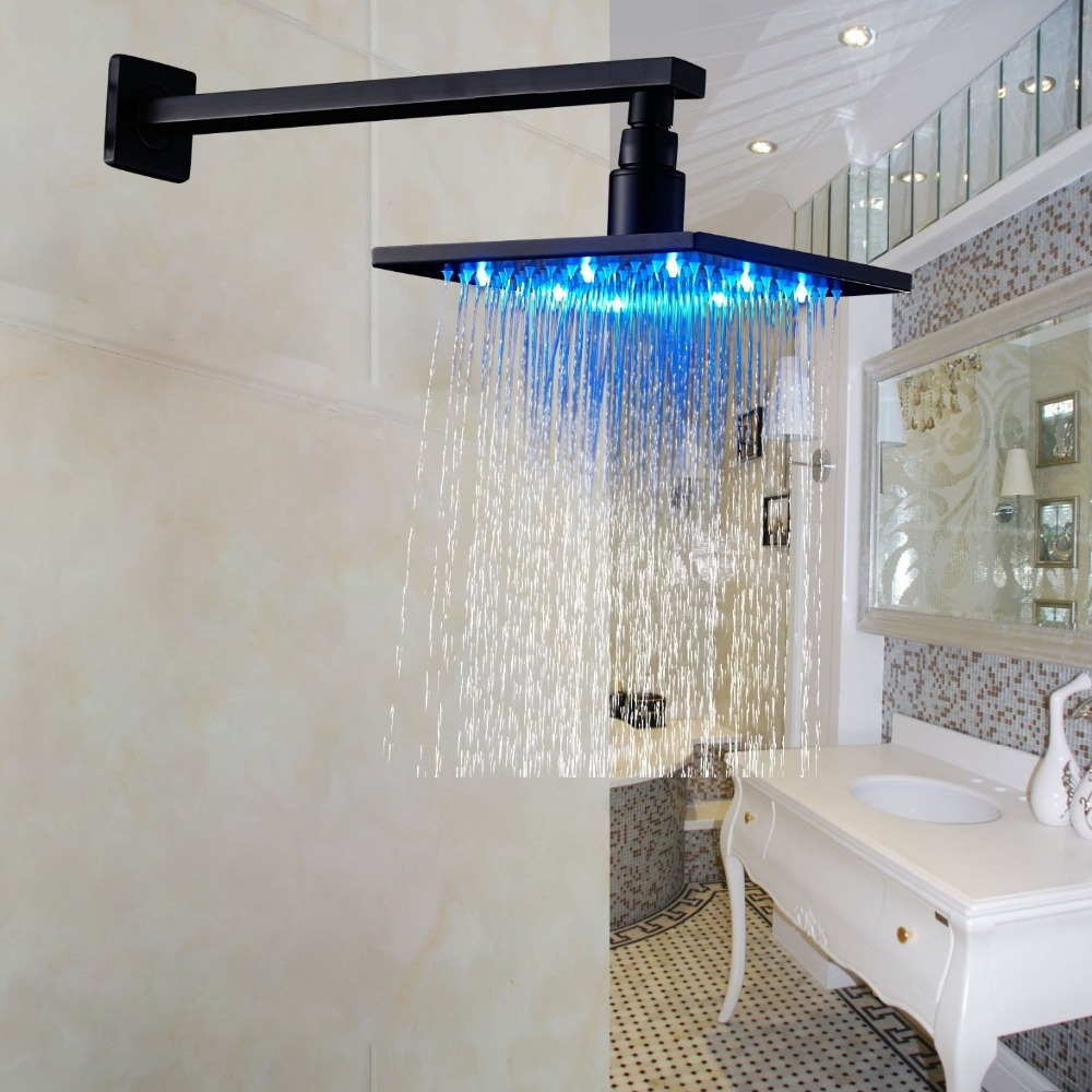 все цены на LED Color 10 Inch Overhead Rainfall Shower Head with Wall Mount Shower Arm Oil Rubbed Bronze онлайн