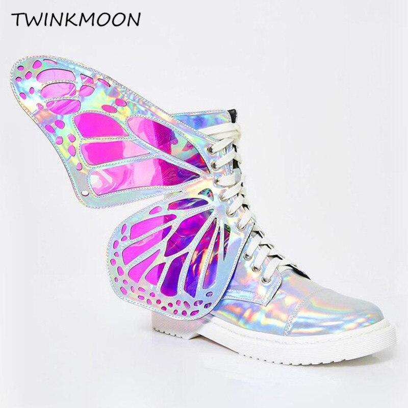 Papillon aile botte fait à la main miroir Suquined femmes bottes plates 3D ange ailes dame chaussures holographique métallique à lacets bottines