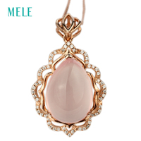 Natual Pink Crystal Silver Pendant Rose Gold Plated Pears 13mm 18mm Special Design And Special Gift