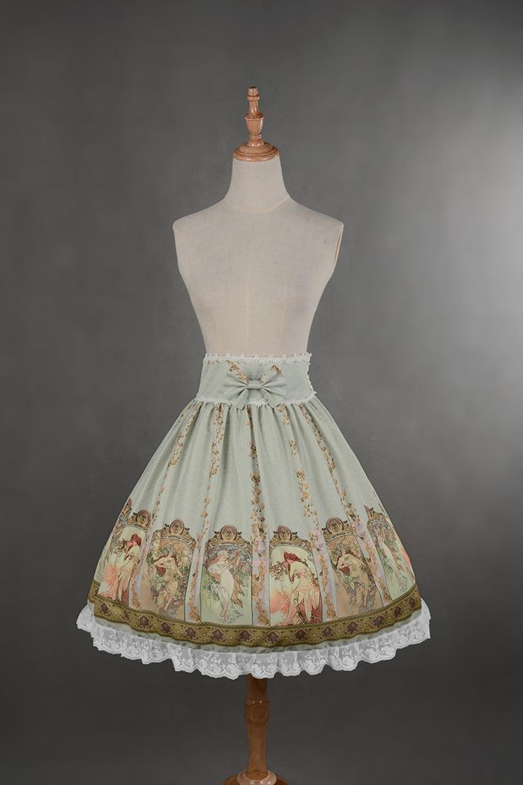 Soufflesong Custom Tailored Empire เอว Mucha กระโปรงหวานพิมพ์ Lolita กระโปรงสำหรับสาว-ใน กระโปรง จาก เสื้อผ้าสตรี บน   3