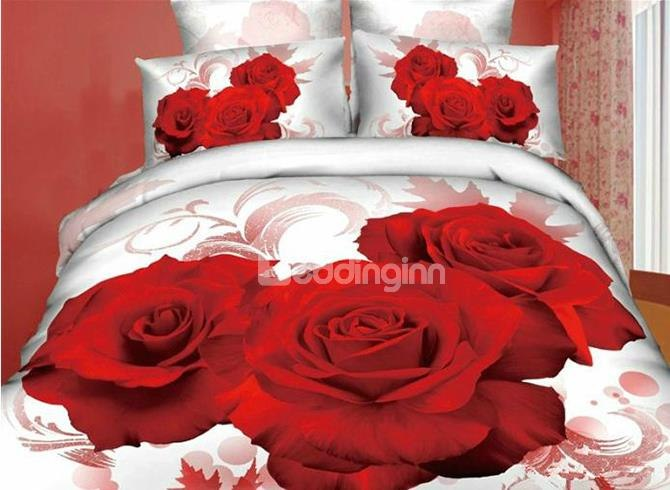 3D Red Rose Printed Luxury Style Cotton 3-Piece White Bedding SetsDuvet Covers
