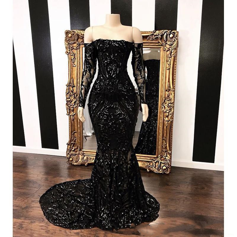 Vestidos Off The Shoulder Mermaid   Prom     Dresses   2019 New Black Long Sleeve Sequined Formal Evening   Dress   Party Gowns