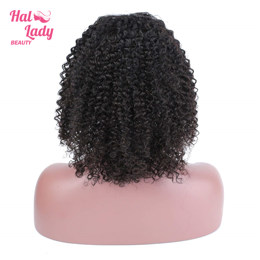 Halo Lady Beauty 13x4 Deep Curly Short Bob Wigs Lace Front Human Hair Wigs Pre plucked Brazilian Lace Front Hair Wig Non Remy-in Human Hair Lace Wigs from Hair Extensions & Wigs    2