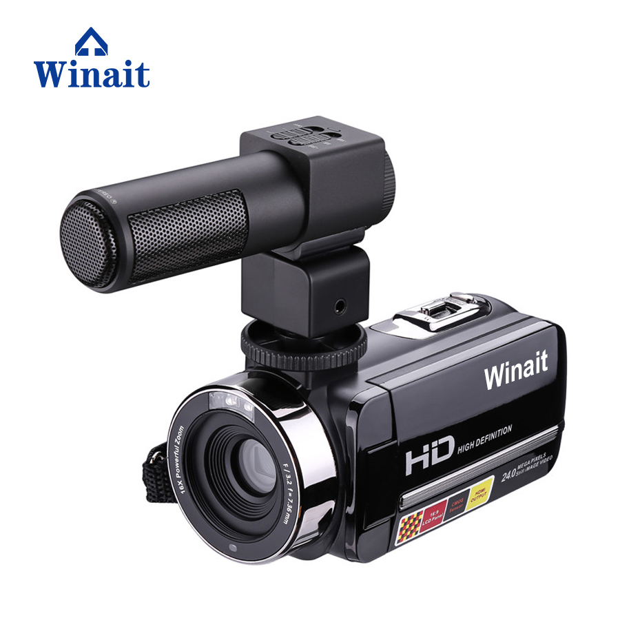 Winait FULL HD 1080P night vision digital video camera with 3.0'' touch display, 24mp resolution photo and 16 x digital zoom winait electronic image stabilization hdv z8 digital video camera with recording function touch screen