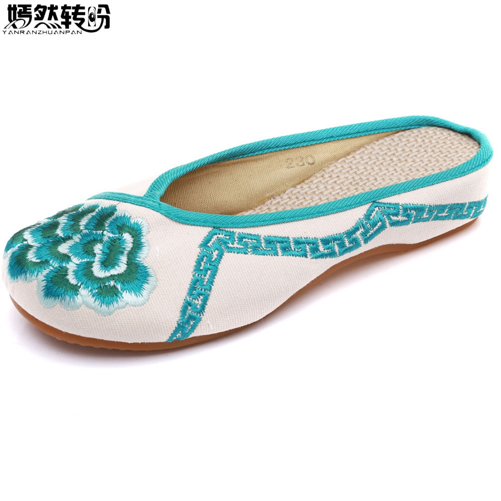 Vintage Women Slippers Summer Floral Embroidery Chinese Old Peking Casual Woman Slippers Slip On Shoes Plus Size 41