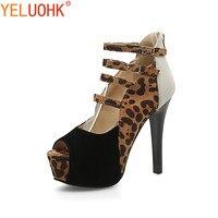 34 43 Leopard Platform Shoes Women High Heels Shoes Open Toe Women Pumps Plus Size High