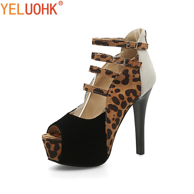 34-43 Leopard Extreme High Heels Shoes Women Peep Toe High Heels Women Shoes  Sexy f37e9e5f1c