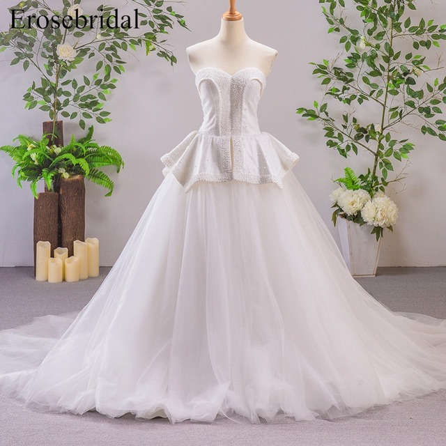 Aliexpress.com : Buy Sleeveless Ball Gown Wedding Dress with Pearl ...