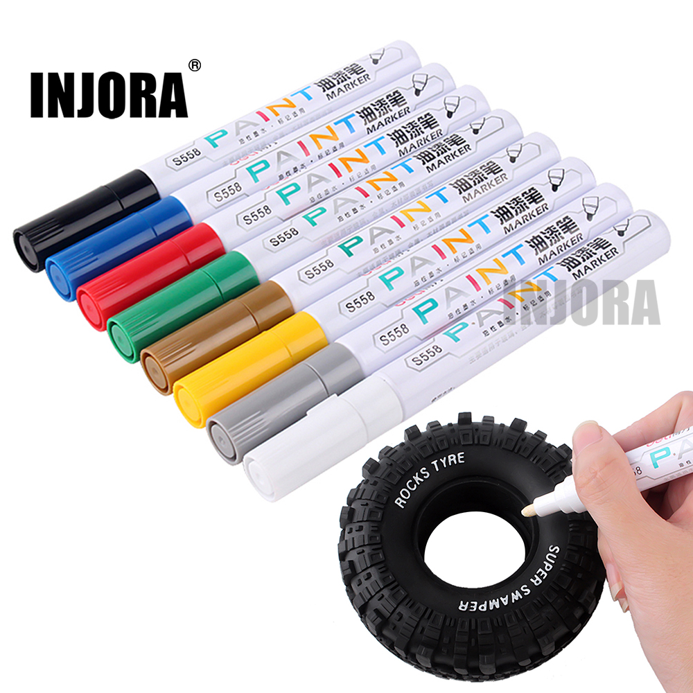 INJORA 2PCS 8 Colors Optional RC Car Tire Paint Marker Drawing Pen Tool For RC Car Crawler Traxxas TRX4 Axial SCX10