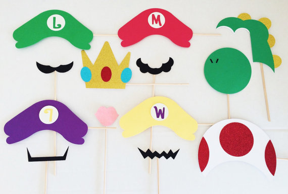 Super Mario Brothers Photo Booth Prop Bundle Set Party Birthday