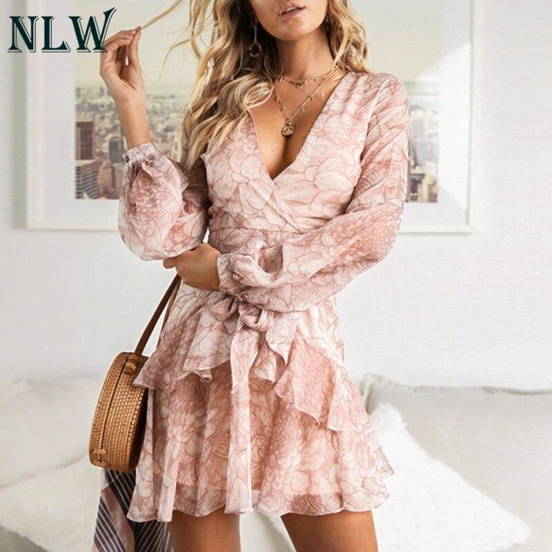 NLW 2019 à manches longues en mousseline de soie femmes robe Feminino fête à volants robe élégante décontracté Vintage automne hiver rose robes Vestidos