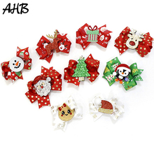 Lovely Christmas Hair Clips for Girls Dot Ribbons Bow Cartoon Elk Red/Green Hairpins New Year Kids Party Accessories
