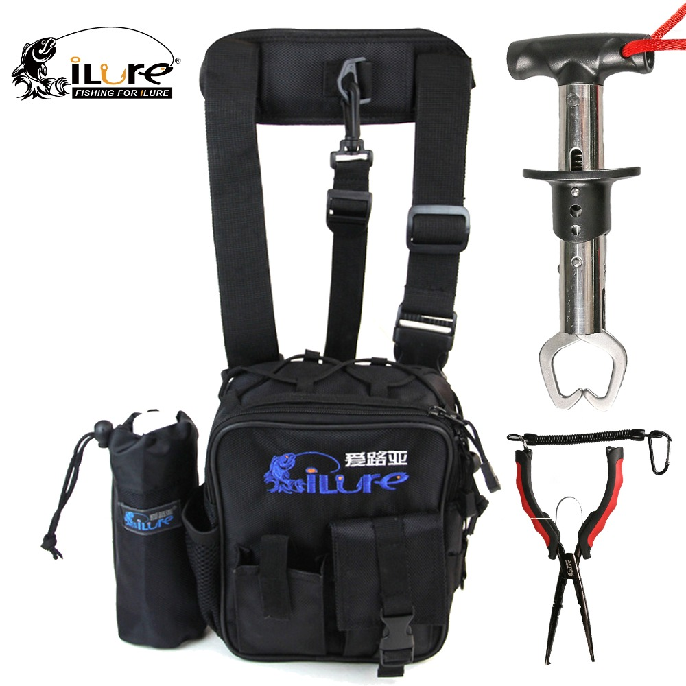 ФОТО ilure Fishing Accessories 17*7*21 cm Fishing Bags +23cm Fishing Pliers +15.7*1.7cm Fish Grip  Portable Tackle Combo Lure Tool