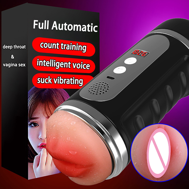 Intelligent Voice Masturbation Cup Deep Throat Blowjob Realistic Vagina Male Masturbator Sex Machine Pocket Pussy Toys For Men leten flip hole dual channel male masturbation cup sucking stimulating vagina real pussy adult sex toys for men sex products