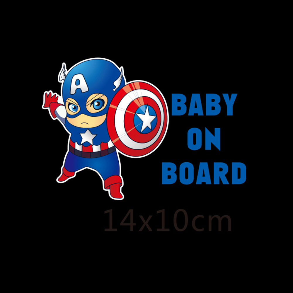 Superheroes Baby On Board Reflective Car Decoration Car Stickers And Decals for Volkswagen Golf Skoda Honda Hyundai Kia Lada цена и фото
