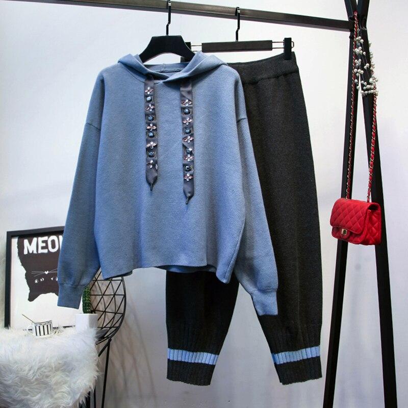 Chic décontracté costumes à capuche 2019 printemps automne chandails à capuche + pantalons tricotés deux pièces ensemble femmes loisirs costume G069
