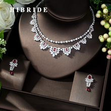 HIBRIDE Beautiful White and Red CZ Stone Pave Women Jewelry Sets Female Necklace Earrings for Travel Party Show N-1039
