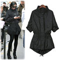 New Women Autumn Spring Casual Basic Trench Coat Black Single-breasted Fashion OL Top Full Sleeve Loose Plus Size