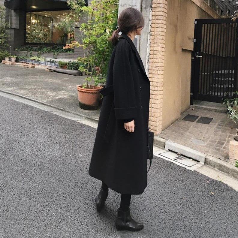 Пиджаки Для женщин длинные Длина Длинные рукава двубортный зубчатый кнопки Офисные женские туфли Плотная одежда