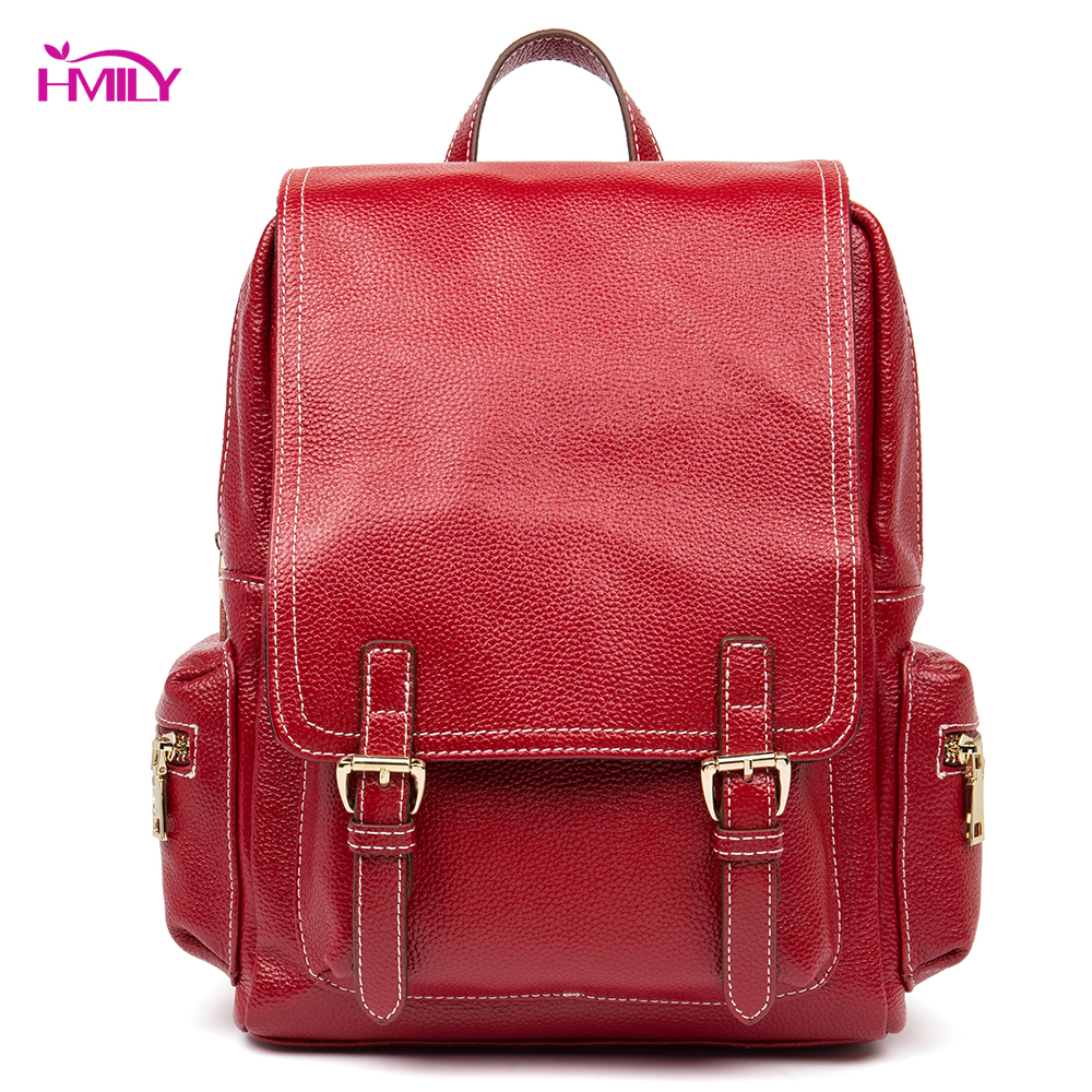 HMILY Female Backpack Genuine Leather Women Travel Bag Cowskin Leather Ladies School Bag College Cover Shoulder Bag Daily Cover cow genuine leather backpack female leisure style school bag ladies high quality leather daily bag women soft travel bag n140