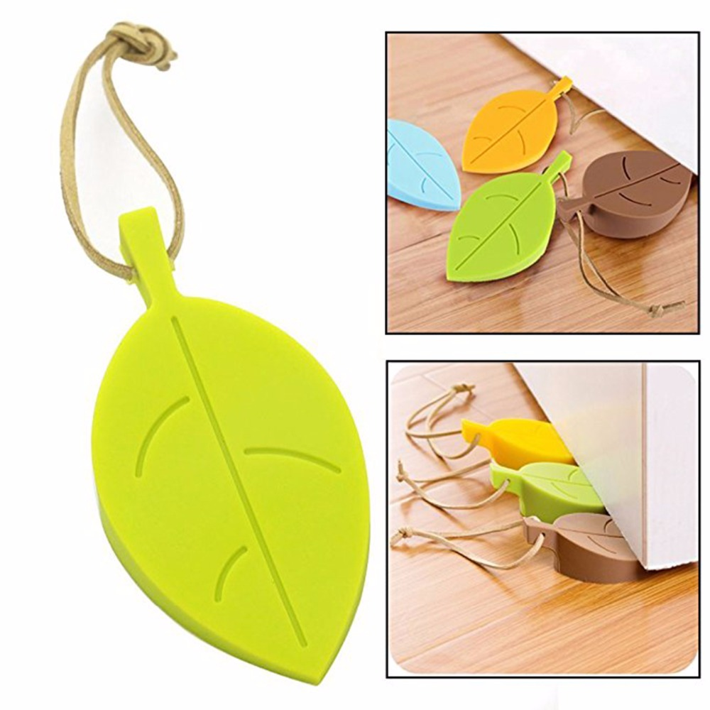 Nosii Leaf Shape Silicone Door Stopper Baby Safety Non-Slip Buffer Stop Home Decor Wish Hanging String Doorstop Prevent Slamming 50pcs new arrivel hot maple autumn leaf style home decor finger safety door stop stopper doorstop