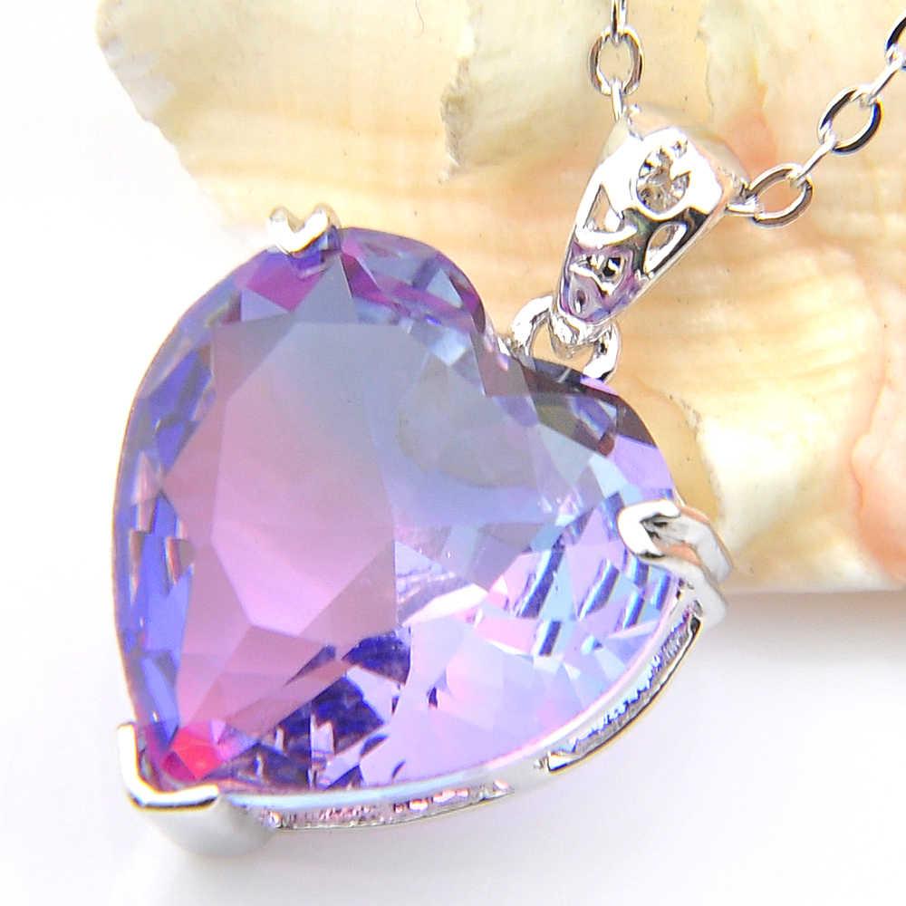 Luckyshien gorąca sprzedaż dla kobiet w wisiorki serca Bi kolorowe turmalin klejnoty fioletowy srebrny naszyjniki wisiorki zaręczyny wisiorek