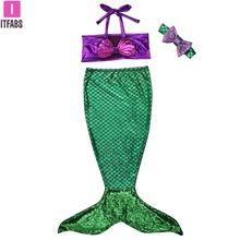 Купальный костюм, Детский комплект бикини для маленьких девочек, купальный костюм, бикини с хвостом русалки, купальный костюм, купальный костюм