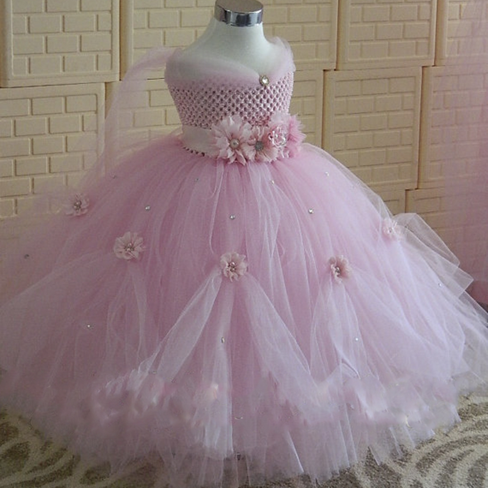 1-8Y Pink Flower Girl Princess Dress Kid Party Pageant Wedding Bridesmaid Tutu Dresses Lavender Kids Birthday Dress for Girls rhinestone princess sofia white top flower lavender skirt baby girl costume 1 8y mg1320