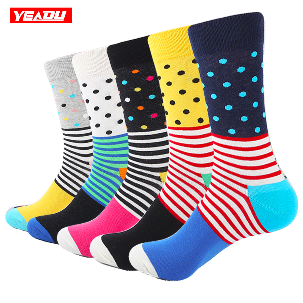 YEADU 5 Pair/Lot Casual Mens Socks Chromatic Stripe Dots Of Socks Man With The Final Design Clothing Fashion Designer Style