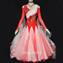 Women's Ballroom Competition Dresses Red Grandeur Hight Quality Custom Made Waltz Tango Ballroom Dance Dress