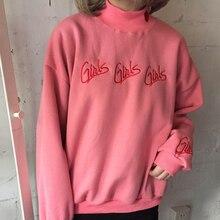 Мода Женщин толстовки осень зима 2016 корейский стиль новый пуловер милый розовый синий вышивка письмо сердце kawaii толстовка