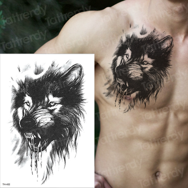 Tattoo Sleeve Tattoo Sticker Men Temporary Tattoo Wolf Tatoo Tiger Cat Swallow Tattoos Waterproof Fake Tatoo Chest Body Art Boys