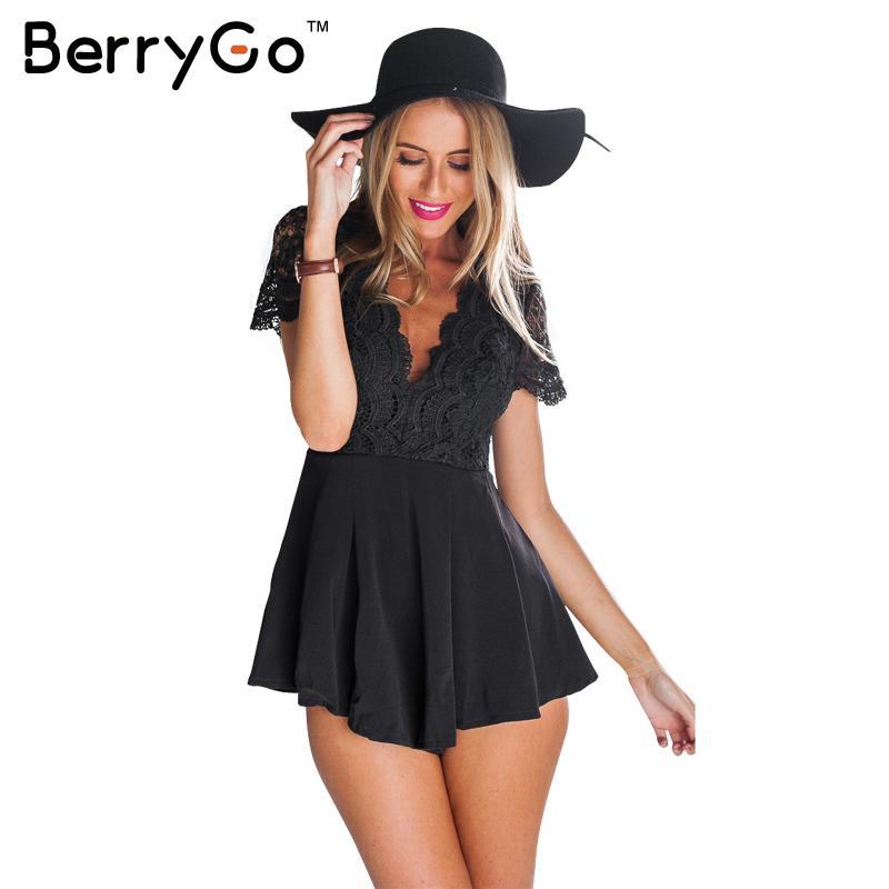 BerryGo Verão estilo rendas costura mulheres elegantes macacão curto macacão Sexy backless macacões bodysuit partido meninas playsuits