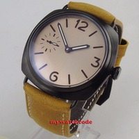 47mm parnis steel pink sterile dial 6497 hand winding leather mens watch