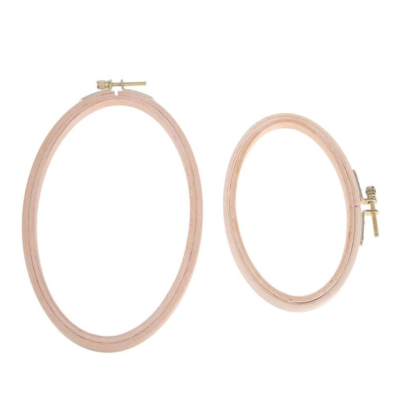 Wooden Bamboo Embroidery Frame Oval Cross Stitch Machine Embroidery Hoop Ring Cross Stitch DIY Needlecraft Household Sewing Tool