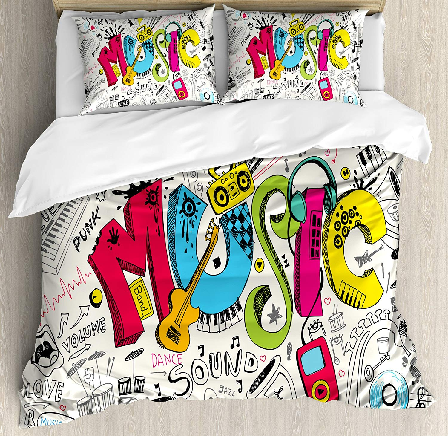 Music Duvet Cover Set Pop Art Featured Doodle Style Musical Background with Instruments Sound Art 3/4pcs Bedding SetMusic Duvet Cover Set Pop Art Featured Doodle Style Musical Background with Instruments Sound Art 3/4pcs Bedding Set
