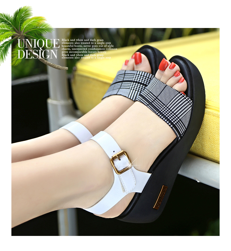 Sandals Female Summer Flat 2019 New Wild With High Heel Wedges Comfortable Non-slip Soft Bottom Pregnant Women Mother Shoes 64