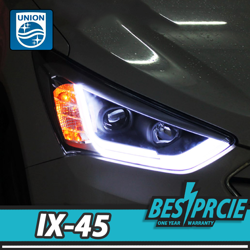UNION Car Styling for Hyundai IX45 LED Headlight New SantaFe 2014-16 Headlight DRL Lens Double Beam H7 HID Xenon Car Accessories free shipping frame for hyundai new santafe car