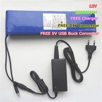 Tüketici Elektroniği'ten Yedek Piller'de 12 V 25000 MAH 25AH Lityum iyon li ion Şarj Edilebilir Piller için taşınabilir şarj cihazı Ücretsiz Şarj  5 V USB Buck Dönüştürücü  DIY Bağlayıcı