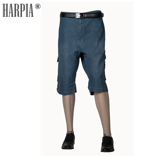 HARPIA Super Plus Size 40-53 Summer Loose Cargo Denim Shorts Men Cotton Stretch Straight Jeans Shorts Male Cowboy Short Pants
