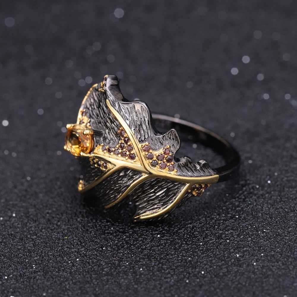 GEM'S балет Джорджия О 'кеффе лист кольцо 0.81Ct натуральный цитрин 925 пробы серебро ручной работы дизайн кольца для женщин Bijoux