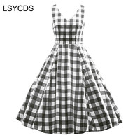 LSYCDS Dress Women Summer Red Plaid A Line V Neck Sleeveless Retro Casual Party Robe Rockabilly