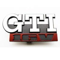 GTI 16V Car Grille Badge For VW GTI 16V GOLF MK2 MK1 Grill Chrome Auto Emblem