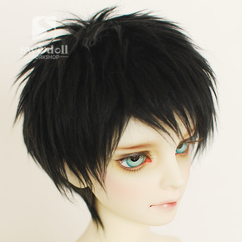 Full SizeShort Black Feather BJD Doll Fur Wig for BJD 1/3 1/4 1/6 1/8 1/12 Doll Wig HH27 handsome grey woolen coat belt for bjd 1 3 sd10 sd13 sd17 uncle ssdf sd luts dod dz as doll clothes cmb107