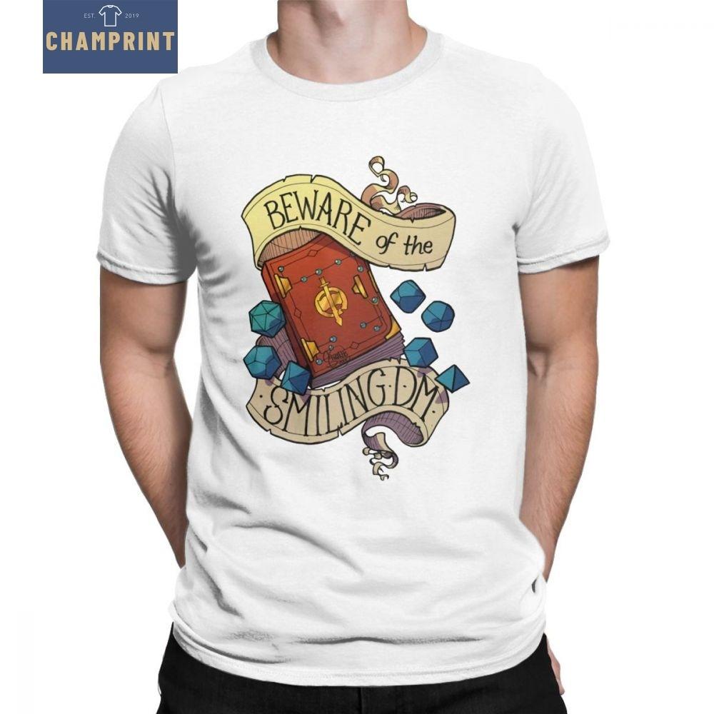 Dungeons And Dragons Dnd Dice Dnd Dice T Camisas Homens Cuidado Com o Sorriso da Dungeon Master Tops T-Shirts O Pescoço tees de algodão 4X 5X