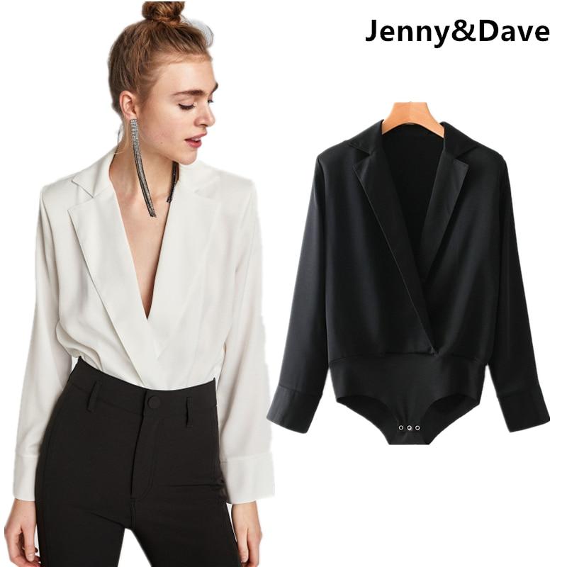 Jenny&Dave bodysuit women england style urban solid color Suit collar v-neck sexy bodysuits women tops body feminino plus size