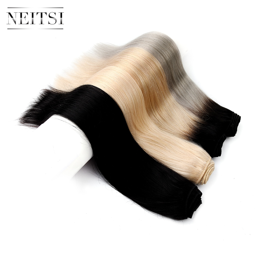Neitsi Machine Made Remy Human Hair Extensions Straight Human Hair Weave Weft Bundles 100g/pc